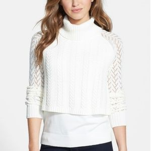 Vince Camuto layered cable knit turtleneck sweater